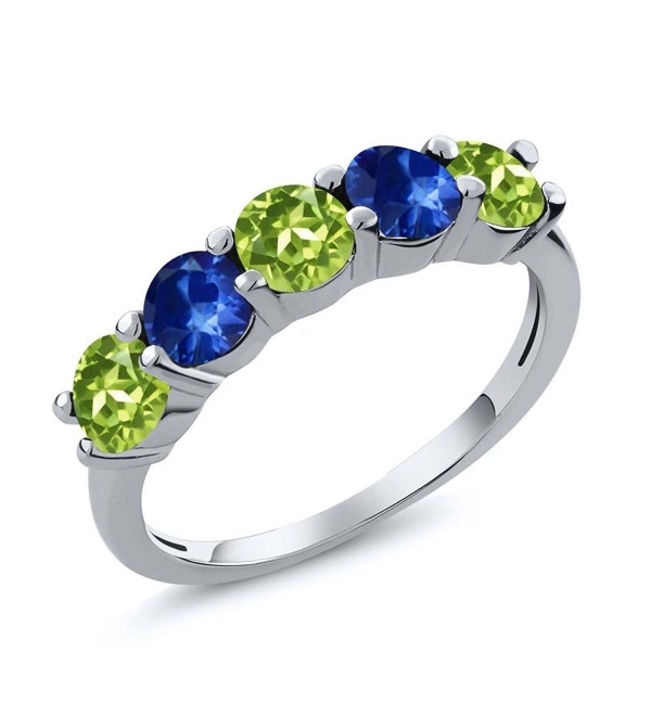 1.02 Ct Round Green Peridot Blue Sapphire 925 Sterling Silver Wedding Band Ring (Available in size 5- 6- 7- 8- 9) - CJ120ZP3MUL