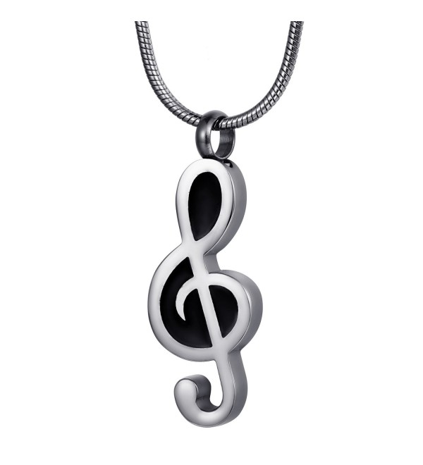 FCZDQ Cremation Jewelry Music Note Memorial Keepsake Urn Necklace/Keychain for Ashes- Stainless Steel - CV183O3LWAX