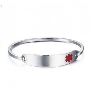 Engraving Stainless Medical Identification Bracelets in Women's ID Bracelets