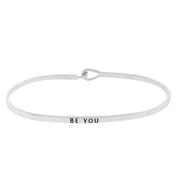 "Inspirational ""BE YOU"" Silver Tone Positive Message Thin Brass Bangle Hook Bracelet - C212NS2VM2C"