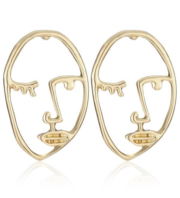 LILIE&WHITE Statement Geometric Face Ethnic Earrings Skull Head Earrings for Women Cool Party Accessories - Gold - CY18525RICQ