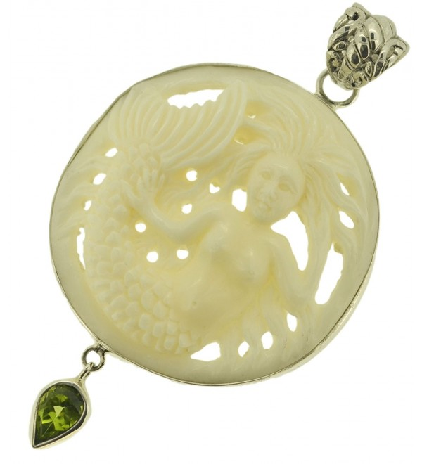 Carved Mermaid Peridot Sterling Silver 925 Pendant - CH11BS0OSH9