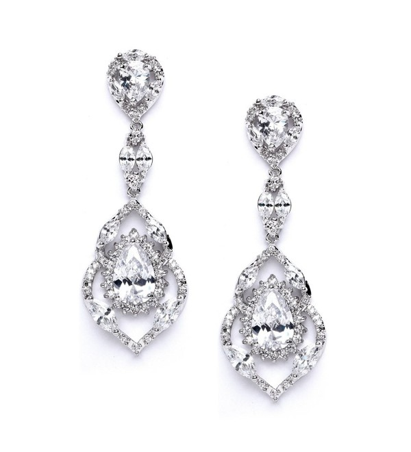 Mariell Luxury CZ Pear Shaped Teardrop Dangle Chandelier Bridal Earrings for Wedding- Bridesmaids & Prom - CL121QET0UB