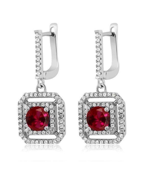 3.51 Ct Round Red Created Ruby 925 Sterling Silver Dangling Earrings - CM11LN83HDH