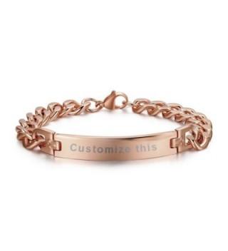 MG Personalized Custom Engraving Plain Stainless Steel ID Bracelets for Men Women- Name Plate Identity bracelet - CR1857IYXKL