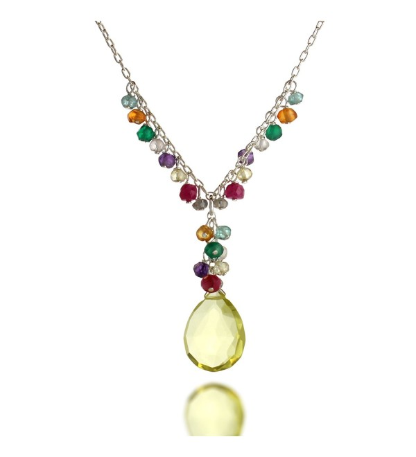 925 Sterling Silver Gemstone Teardrop Y-Shaped Pendant Necklace- 17 inches - Yellow - C811MV53I99