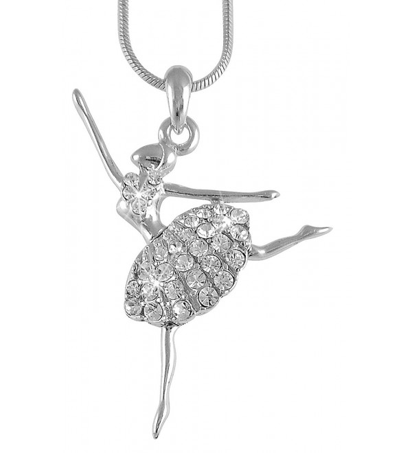 Ballerina Ballet Dancer Pendant Necklace - White - CG11GAXR6KT