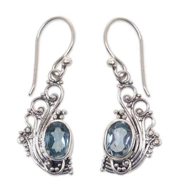 NOVICA .925 Sterling Silver and Blue Topaz Lacy Dangle Earrings- 'Blue Peacock's Feather' - CT127W266CV