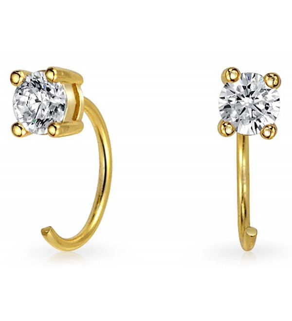 Bling Jewelry Small Gold Plated CZ Ear Threader Modern Earrings 925 Silver - CD11W6DLJPB