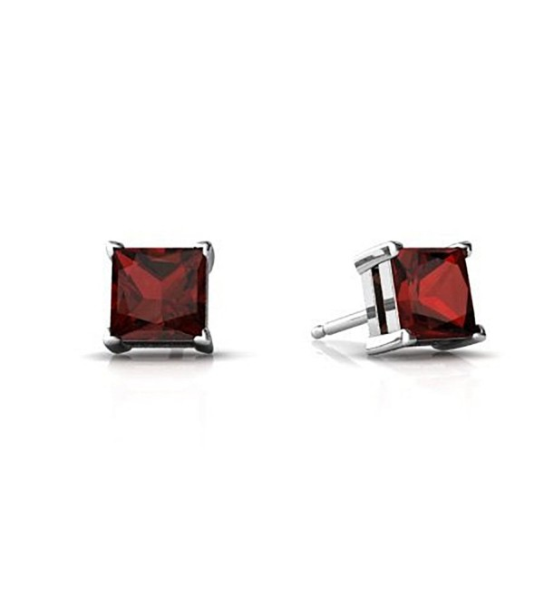 Solitaire Stud Post Earring Princess Cut Simulated Deep Red Garnet 925 Sterling Silver - CQ12MXOFJHV