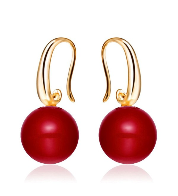 Merdia Charming Earrings Drop Simulated Pearl Hook Earrings 12MM Red - CP12O755RL1