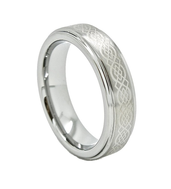 Unisex 6mm Tungsten Carbide Wedding Band with Celtic Knot Design (US Sizes 4 - 13) - C6110AZNOSV