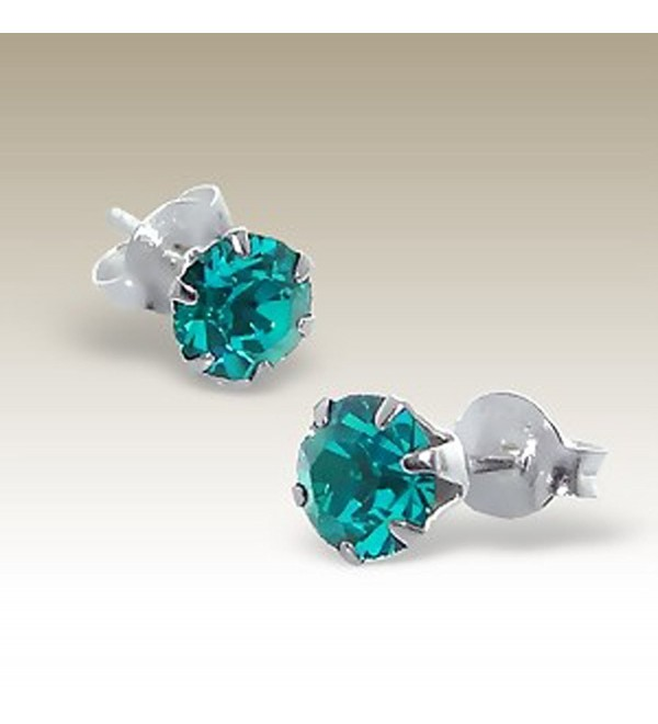 Blue Zircon Crystal Earrings- Round 5mm- Stering Silver 925 Post (E8420) - CQ11LKUT3QD