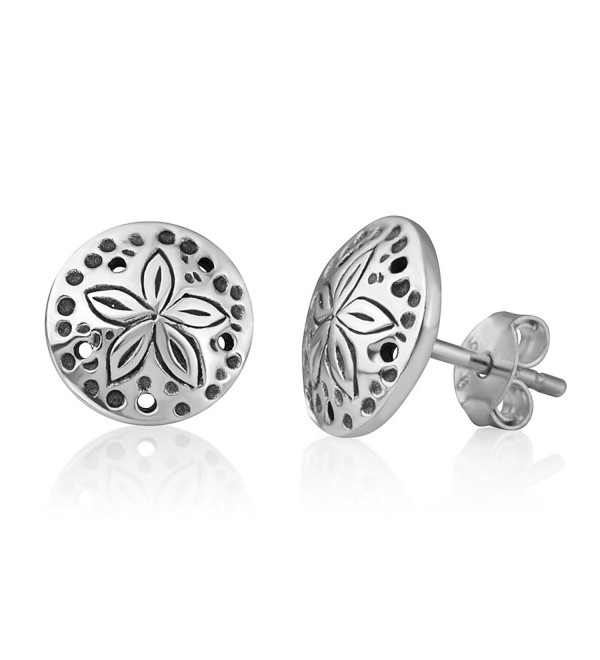 5c74a99eb 925 Oxidized Sterling Silver Little Sand Dollar Sea Star Round Post Stud  Earrings 9 mm -. On sale!