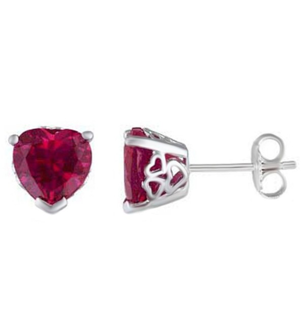 Heart Shaped Simulated Ruby Solitaire Stud Earrings In 14K White Gold Over Sterling Silver - CB12OC0QPJ5