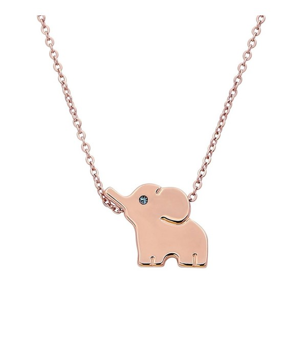 18k Plated Stainless Steel Elephant Animal Lucky Elephant Necklace Everyday Jewelry - CE11Q9J72OP