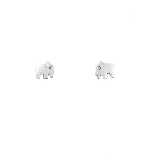 "Rosemarie Collections Women's Petite Stud Earrings ""Elephant"" - White Gold Dipped - C512ODSR492"