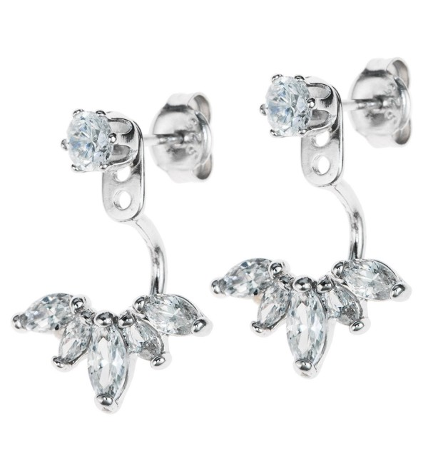 Dreambell Rhodium On 925 Sterling Silver Clear Cz Crystal 2 In 1 Stud And Jacket Ear Cuff Earrings - CH12F4UZ9UX