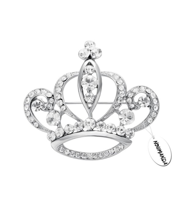 NOUMANDA Women Shiny Rhinestone Crown Brooch Pin - silver - CP12J0G70NL