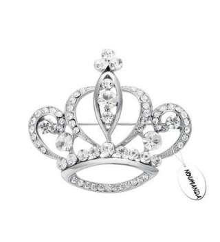 NOUMANDA Women Shiny Rhinestone Crown Brooch Pin - silver - CP12J0G70NL
