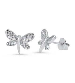 Dragonfly Cubic Zirconia Stud .925 Sterling Silver Earrings - CL124M1I2GX