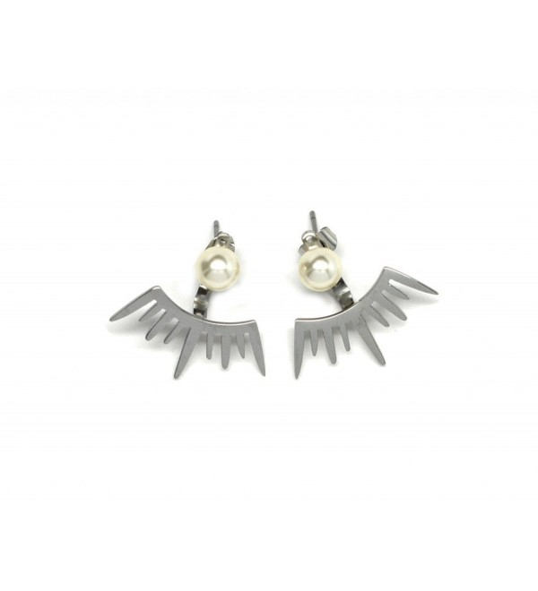 Miss Mozart Stainless Steel Ray of Light Earring Jackets Multi-Color Available - Silver - C411AOAHGNZ
