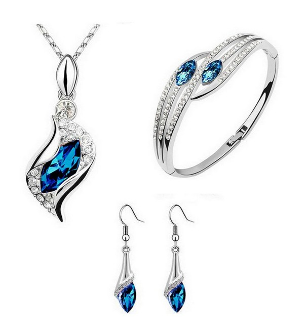 Crystal Element Jewelry Set Necklace & Earring & Bracelets(blue) - CY12KJOTCDJ