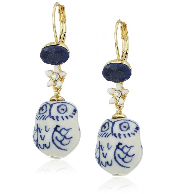 "Betsey Johnson ""Betsey Blues"" Ceramic Owl Drop Earring - CO12HHBLD9X"