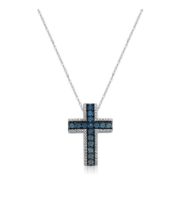 "Jewelili Sterling Silver Blue Diamond Accent Cross Pendant Necklace- 18"" - C91855D2WGC"