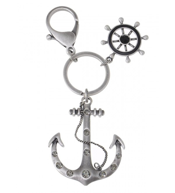 Alilang Antique Tone Nautical Sailor Sea Anchor Swarovski Crystal Rhinestone Keychain - CE116N019RV