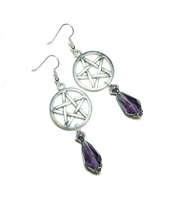 Gothic Pentagram Earrings with Purple Crystal - C211HPSCSTD