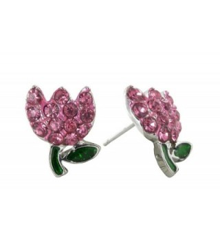 Spring's Mini Tulip Crystal Rhinestone Stud Earrings in Rose Pink for Easter - CI11CU8PV65