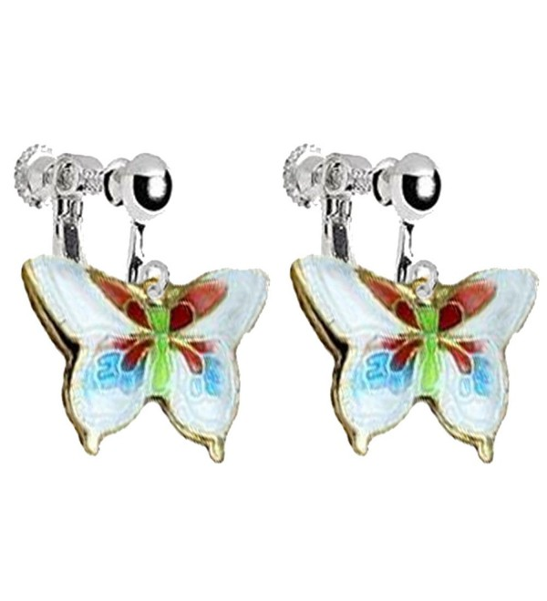 Enamel Craft Butterfly Clip on Earrings for Kids Girls Women Princess Birthday DIY Jewelry (Deep Blue) - white - CA186LI4MS3