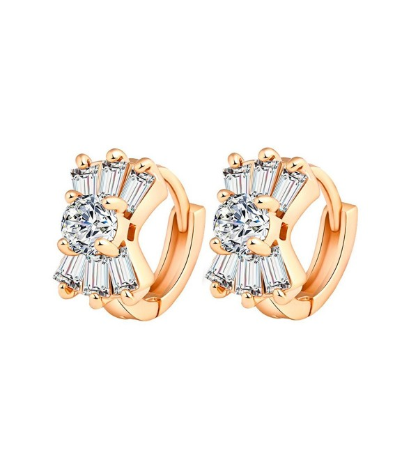 YAZILIND 18K Gold Plated Cubic Zirconia Hoop Huggies Earrings for Women Gift Idea - CG12FZRPC1V