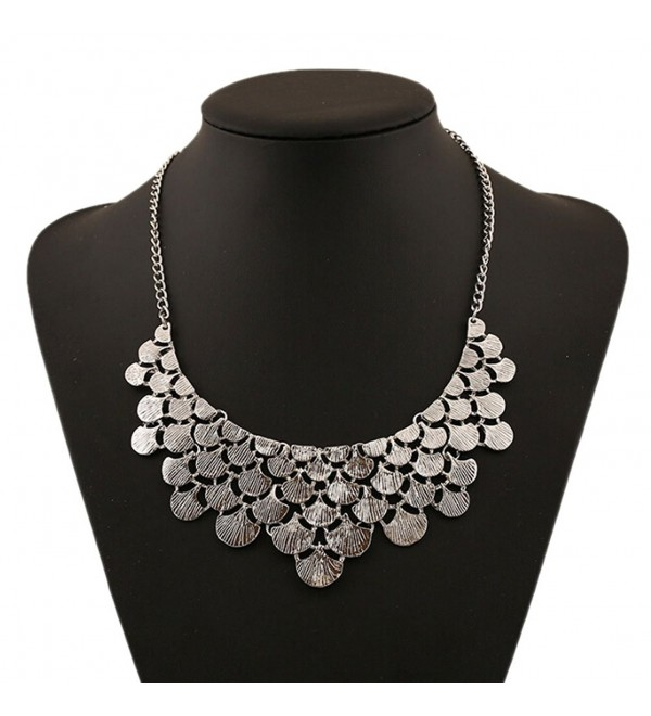 DELEY Vintage Alloy Ginkgo Leaves Collar Fashion Bib Antique Pendant Statement Necklace - Silver - C912NERO94B