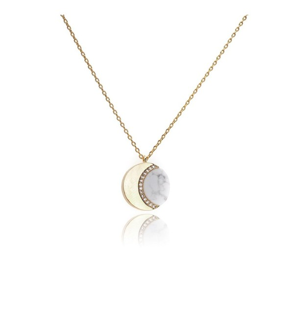 My Very Best Crescent Marble Moon Necklace - gold plated brass_white marble - CQ183O3DR4C