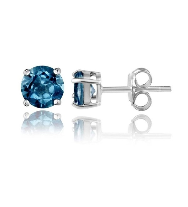 Sterling Silver 2Ct London Blue Topaz Round Studs Earrings - C2187WZDNC9