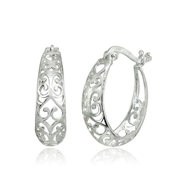 LOVVE Sterling Silver High Polished Filigree Heart Oval Hoop Earrings - CL188UC8H0S