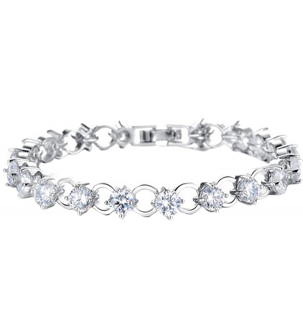 "Womens Copper Platinum Plated Inlaid CZ All-match Tennis Bracelet- 7"" - C111A71CFE7"