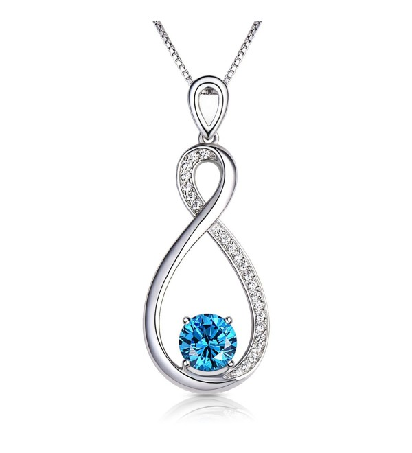 Conmisun Infinity Necklace Aquamarine Birthstone - CO18850I52L