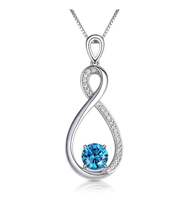 Conmisun Infinity Necklace Aquamarine Birthstone - CO18850I52L