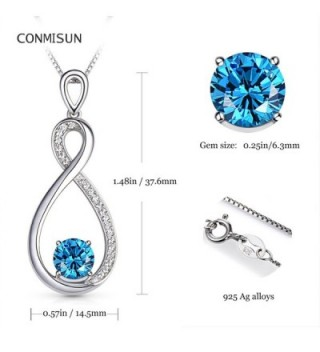 Conmisun Infinity Necklace Aquamarine Birthstone in Women's Pendants