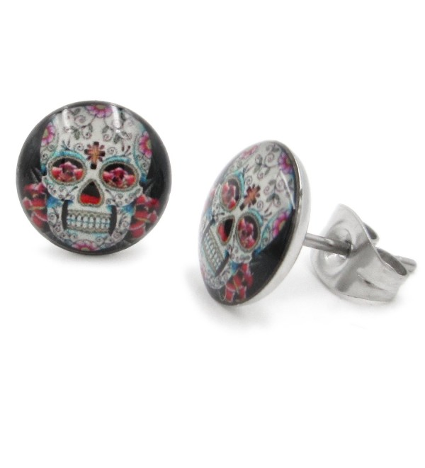 Pair Stainless Steel Round Flower Sugar Skull Post Stud Earrings 9mm - CF11C91G1K3