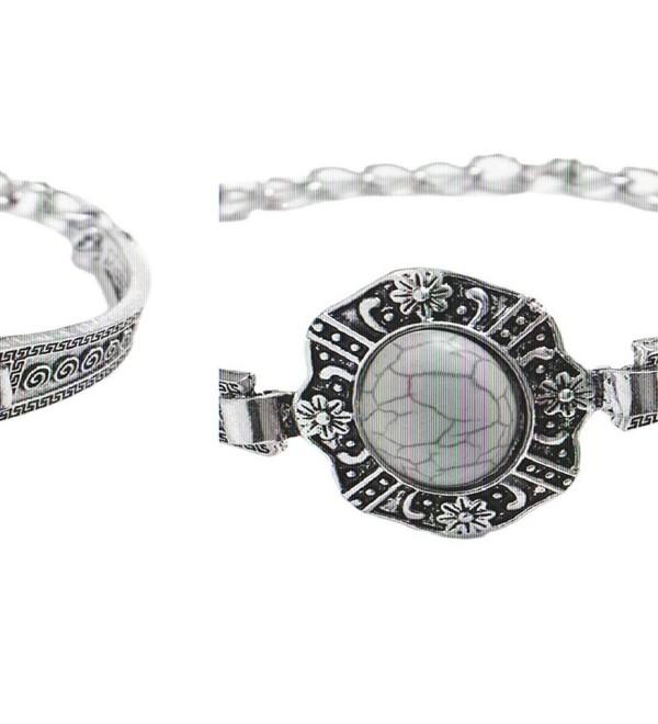 Susenstone Retro Plated Turquoise Bracelet Charm Bead Adjust Cuff Bangle Wrist - CL11ZHNFV65