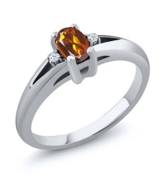 0.44 Ct Orange Red Oval Madeira Citrine and Topaz 925 Sterling Silver Ring (Available in size 5- 6- 7- 8- 9) - CU116T1FHCR