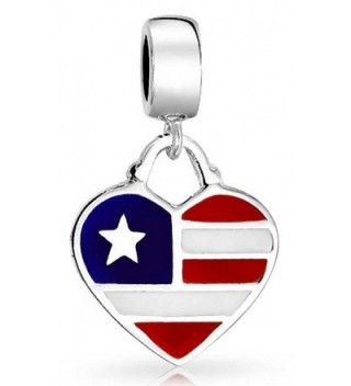 Bling Jewelry American Flag Heart Shaped Dangle Bead Charm .925 Sterling Silver - C512JXRII0L