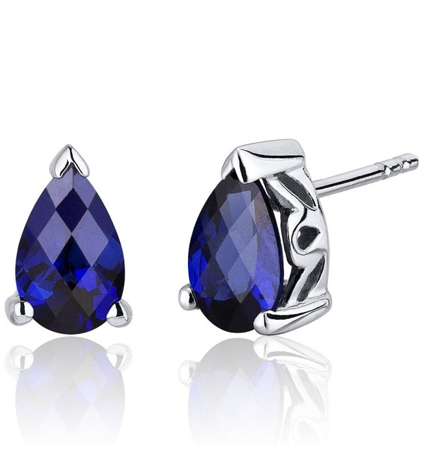 Created Blue Sapphire Pear Shape Stud Earrings Sterling Silver 2.00 Carats - CG116ULJP5V