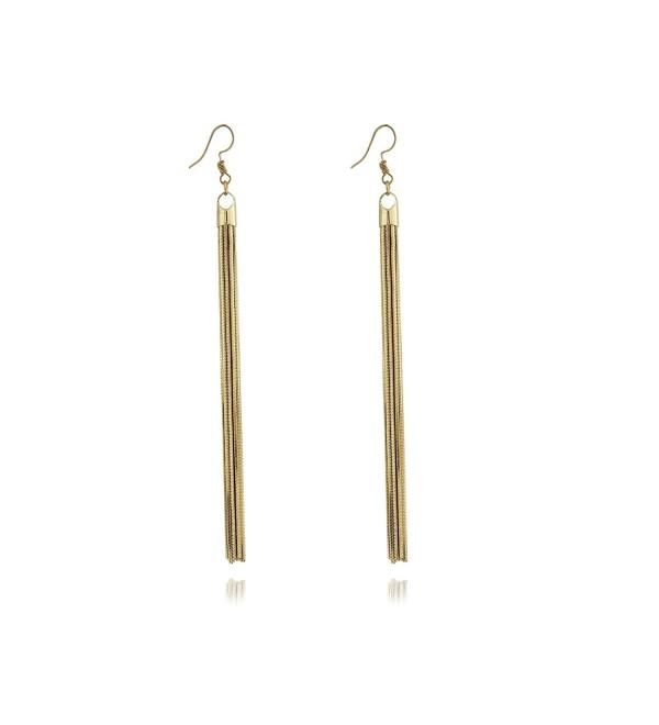 Super Long Wire Tassel Drop Lightweight Women's Dangle Earrings by Dokreil - Golden - CP186YN58I0