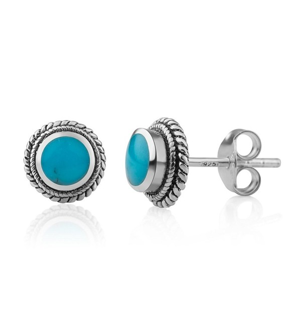 925 Sterling Silver Bali Inspired Tiny Gemstone Braided Round 9 mm Post Stud Earrings - Blue Turquoise - C717XXL73SL