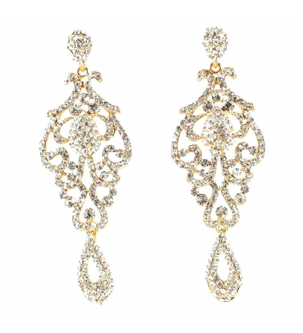 Large Pageant Austrian Crystal Rhinestone Chandelier Dangle Earrings Prom E2090 - CR12088T623